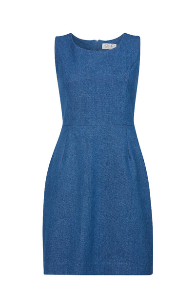 A classic indigo denim sheath dress by Ambi. Front on view, cut out.
