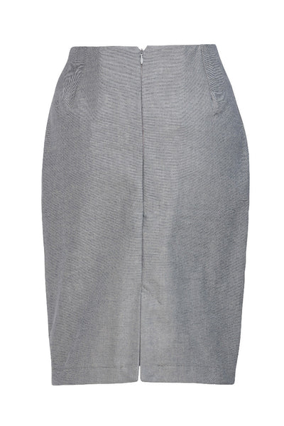 Grey skirt by Ambi. Knee length. Back view, cut out.