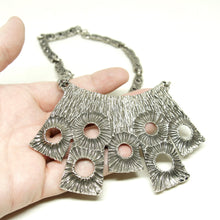 Load image into Gallery viewer, Large Robert Larin Bib Necklace - Moon Surface