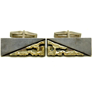 Rare George Brooks Cufflinks - 18K Gold & Sterling - Quebec Modernist