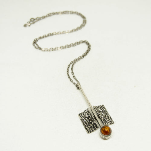 Modernist Silver Necklace - Amber - Space Age - Mid Century Modern - 835 Silver
