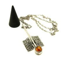 Load image into Gallery viewer, Modernist Silver Necklace - Amber - Space Age - Mid Century Modern - 835 Silver