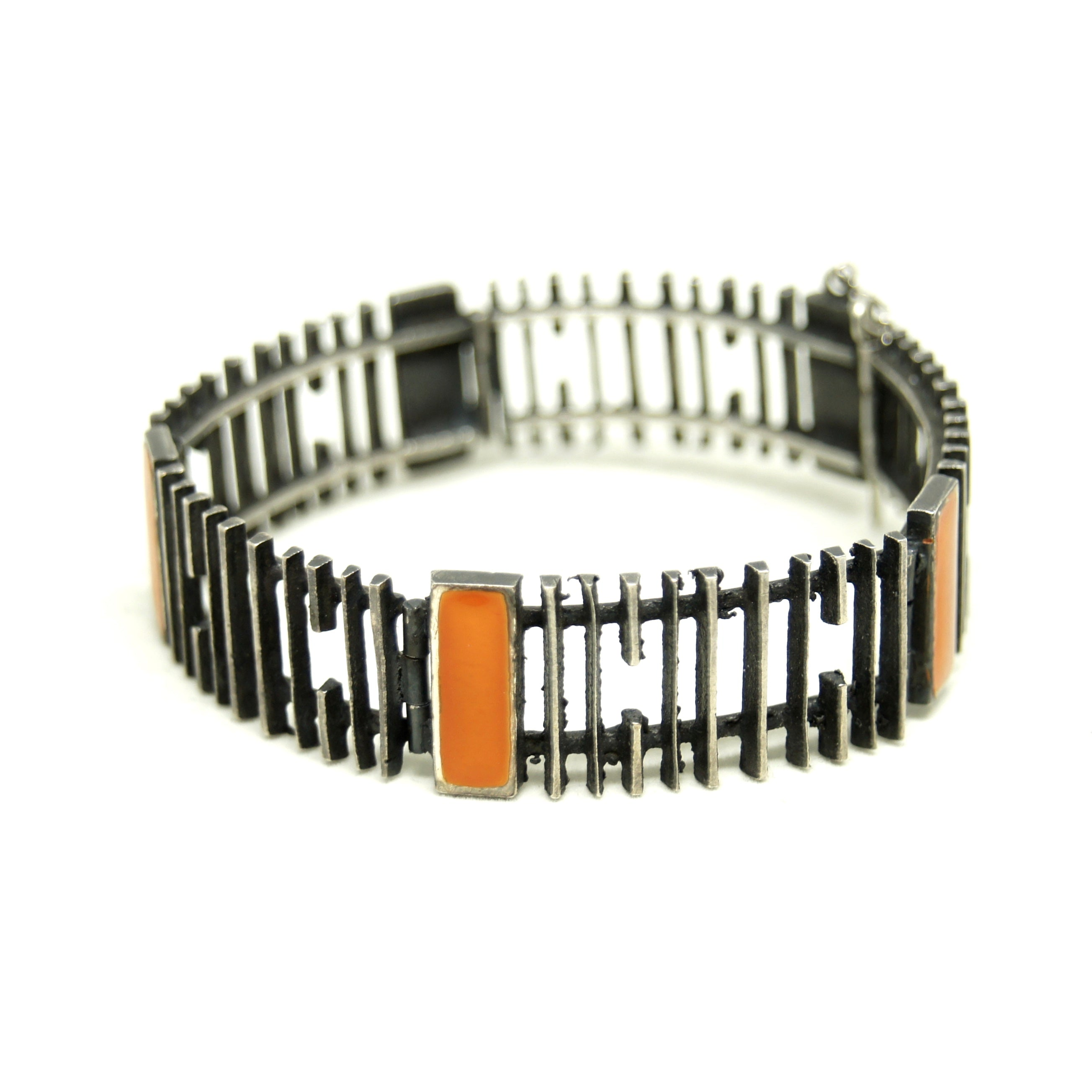 Modernist Bracelet - Orange Resin Enamel