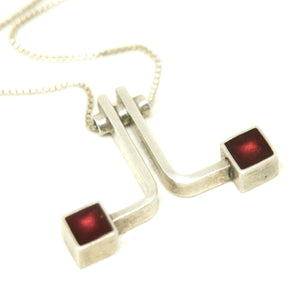 Gilbert Rheme Necklace - Red Cubes