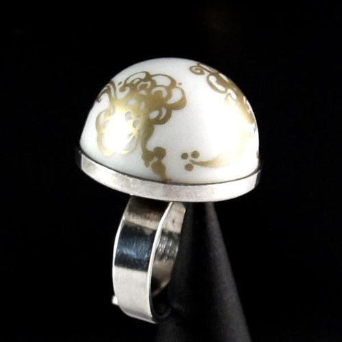 Porsgrund Norway Ring - Porcelain Sterling - Modernist