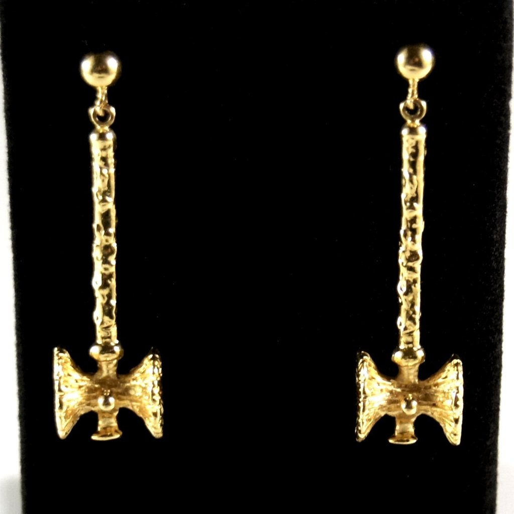 Guy Vidal Long Hammer Earrings - Modernist Brutalist - Gold