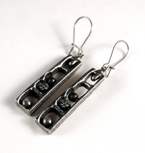 Guy Vidal Shadow Box Earrings - Modernist Brutalist
