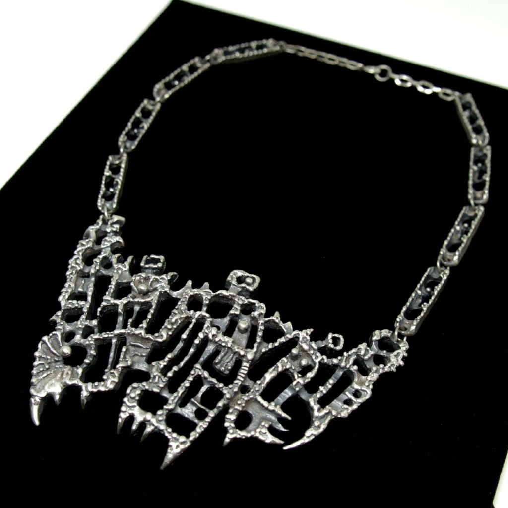 Guy Vidal Bib Necklace - Three Figures - Modernist Brutalist