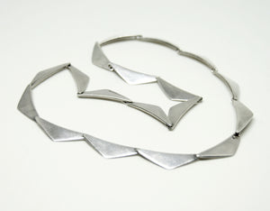 Hans Hansen Peak Necklace & Bracelet Set  - Sterling Silver - Modernist