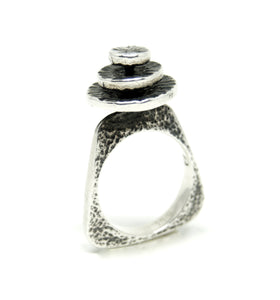 Rare Bernard Chaudron Sterling Ring - Stacked Circles - Modernist