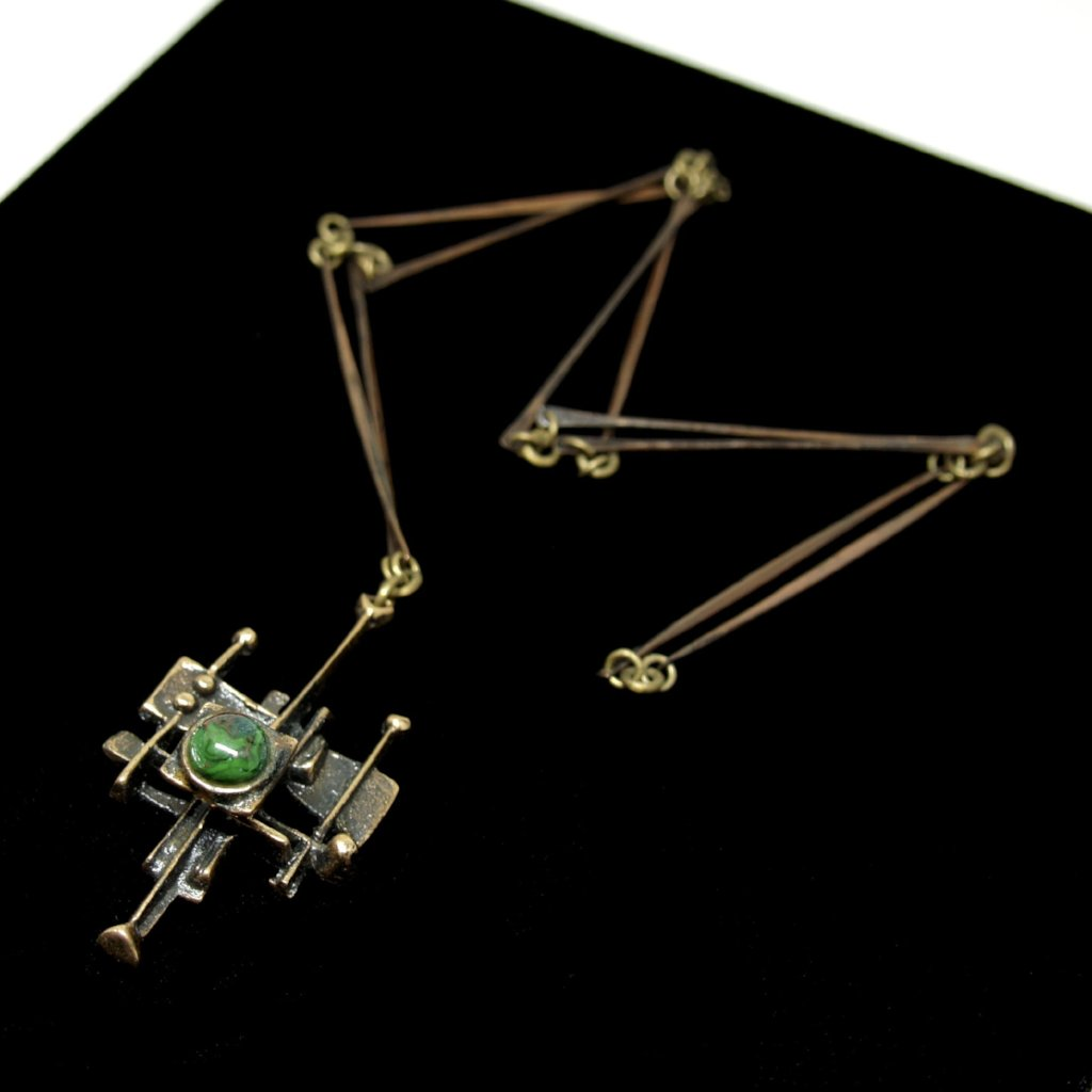 Jozsef Peri Architectural Necklace - Green Enamel - Hungarian Modernist