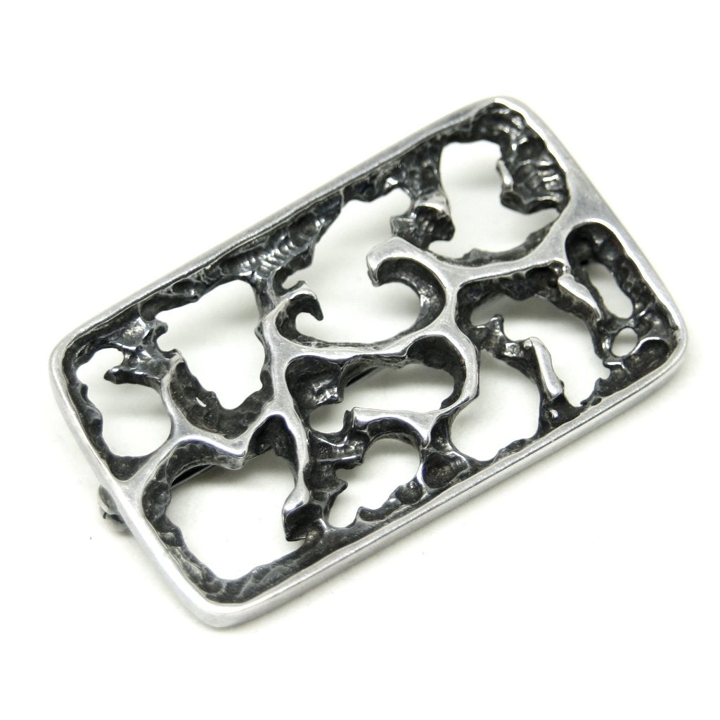 Bernard Chaudron Brooch - Modernist - Carved Surface