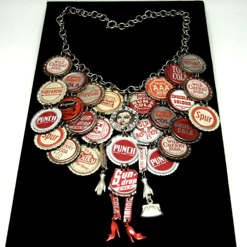 Rare Janet Cooper Bottle Cap Necklace & Bracelet - Wearable Folk Art
