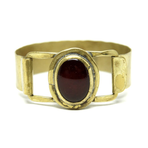 Rafael Canada Bracelet - Modernist Brass - Red Glass