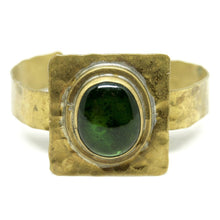 Load image into Gallery viewer, Rare Rafael Canada Cuff Bracelet - Brass - Green Glass