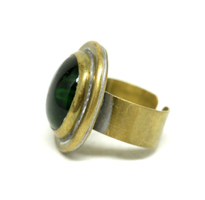 Rafael Alfandary Ring - Green Glass - Brass