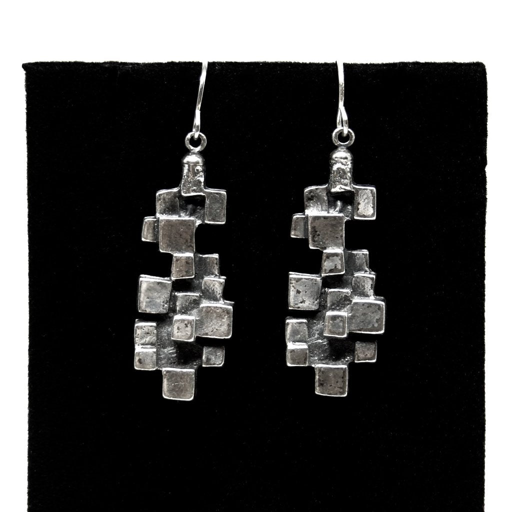 Guy Vidal Cubist Earrings - Modernist Brutalist
