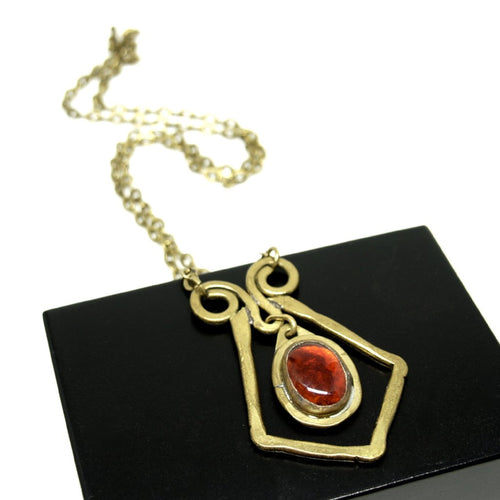 Rafael Canada Necklace Brass - Diamond Scroll - Tomato Red Glass