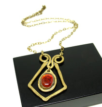 Load image into Gallery viewer, Rafael Canada Necklace Brass - Diamond Scroll - Tomato Red Glass