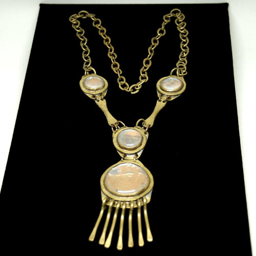 Rare Rafael Canada Necklace - Kinetic 4 Stone - Brass