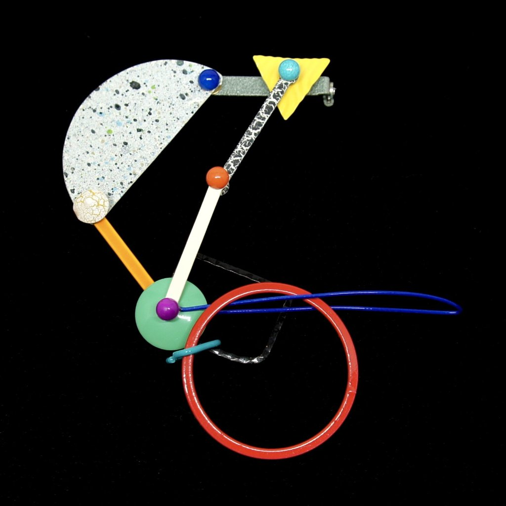 Eve Kaplin Mechanical Brooch - Memphis Design Pin - Sottsass