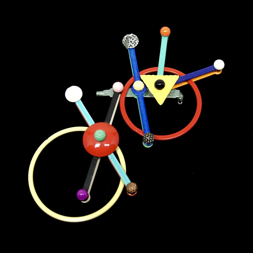 Eve Kaplin Satellite Brooch - Memphis Design Pin - Sottsass