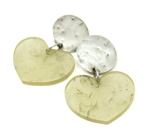 Chunky Martha Sturdy Heart Earrings - Moss Resin