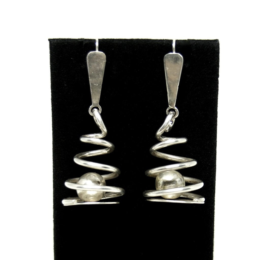 Art Smith Caged Ball Earrings - Sterling Silver - American Modernist
