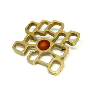 Bernard Chaudron Cubist Brooch - Red Circle