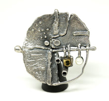 Load image into Gallery viewer, Guy Vidal Abstract Surface Brooch - Brutalist