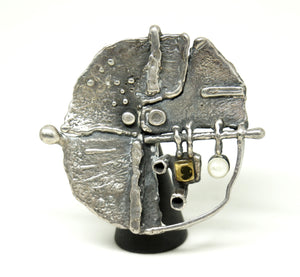 Guy Vidal Abstract Surface Brooch - Brutalist