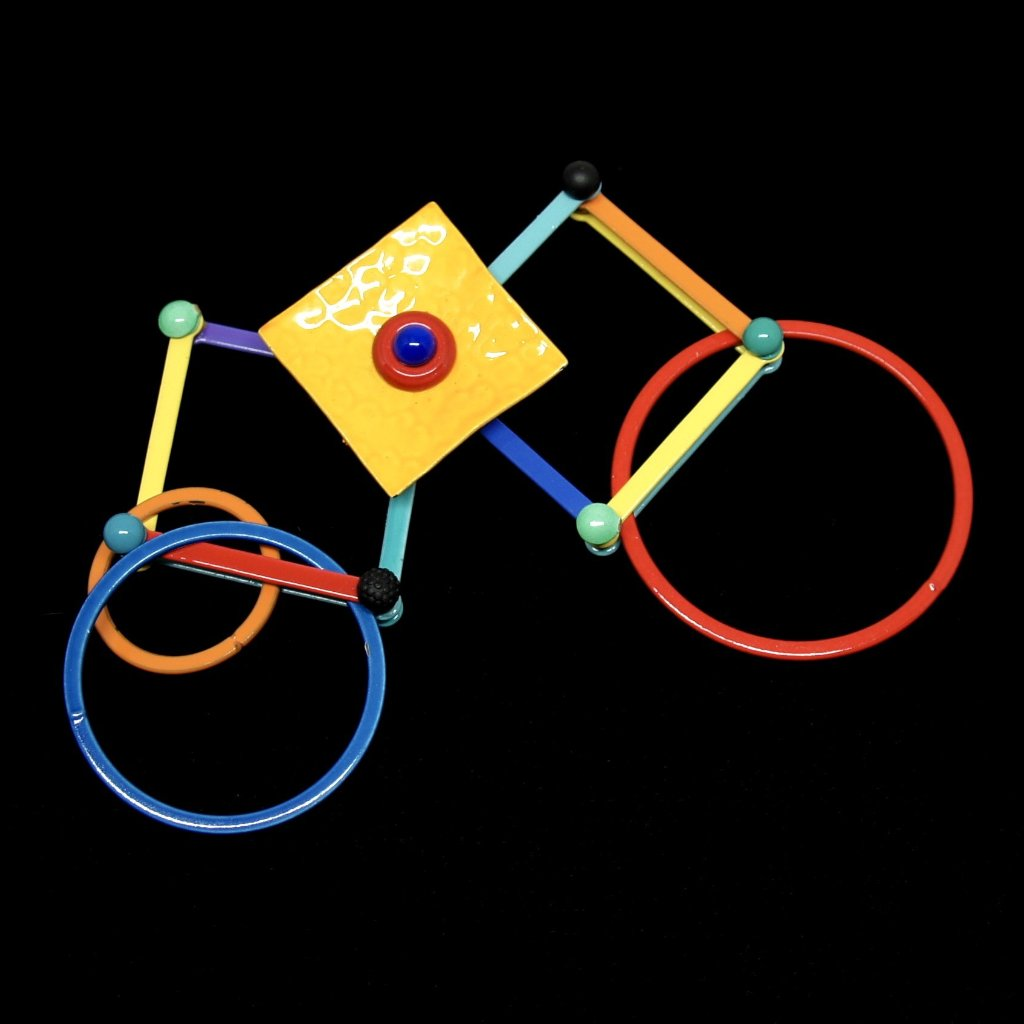 Eve Kaplin Mechanical Brooch - Circles & Squares - Memphis Design Pin - Sottsass