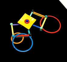 Load image into Gallery viewer, Eve Kaplin Mechanical Brooch - Circles & Squares - Memphis Design Pin - Sottsass
