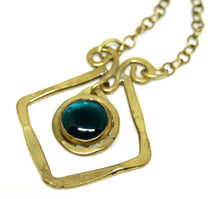 Rafael Canada Necklace Brass - Diamond Scroll - Teal Blue Glass