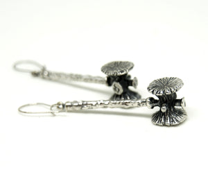 Guy Vidal Long Hammer Earrings - Modernist Brutalist - Silver