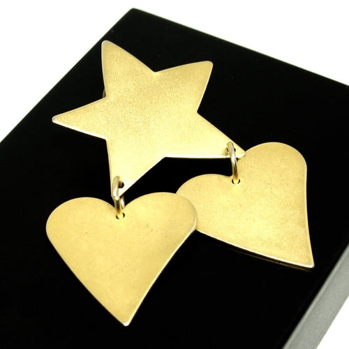 Martha Sturdy Heart & Star Brooch - Matte Gold