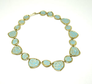 Anne Dick Necklace - Blue Verdigris Petals - Modernist