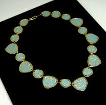 Load image into Gallery viewer, Anne Dick Necklace - Blue Verdigris Petals - Modernist