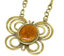 Load image into Gallery viewer, Large Rafael Canada Necklace - Butterfly - Orange Glass