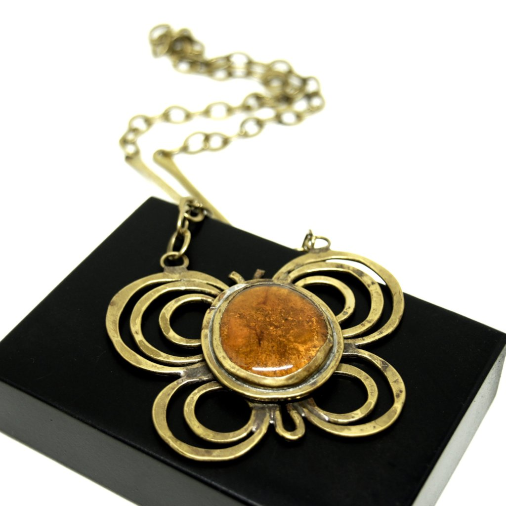 Large Rafael Canada Necklace - Butterfly - Orange Glass