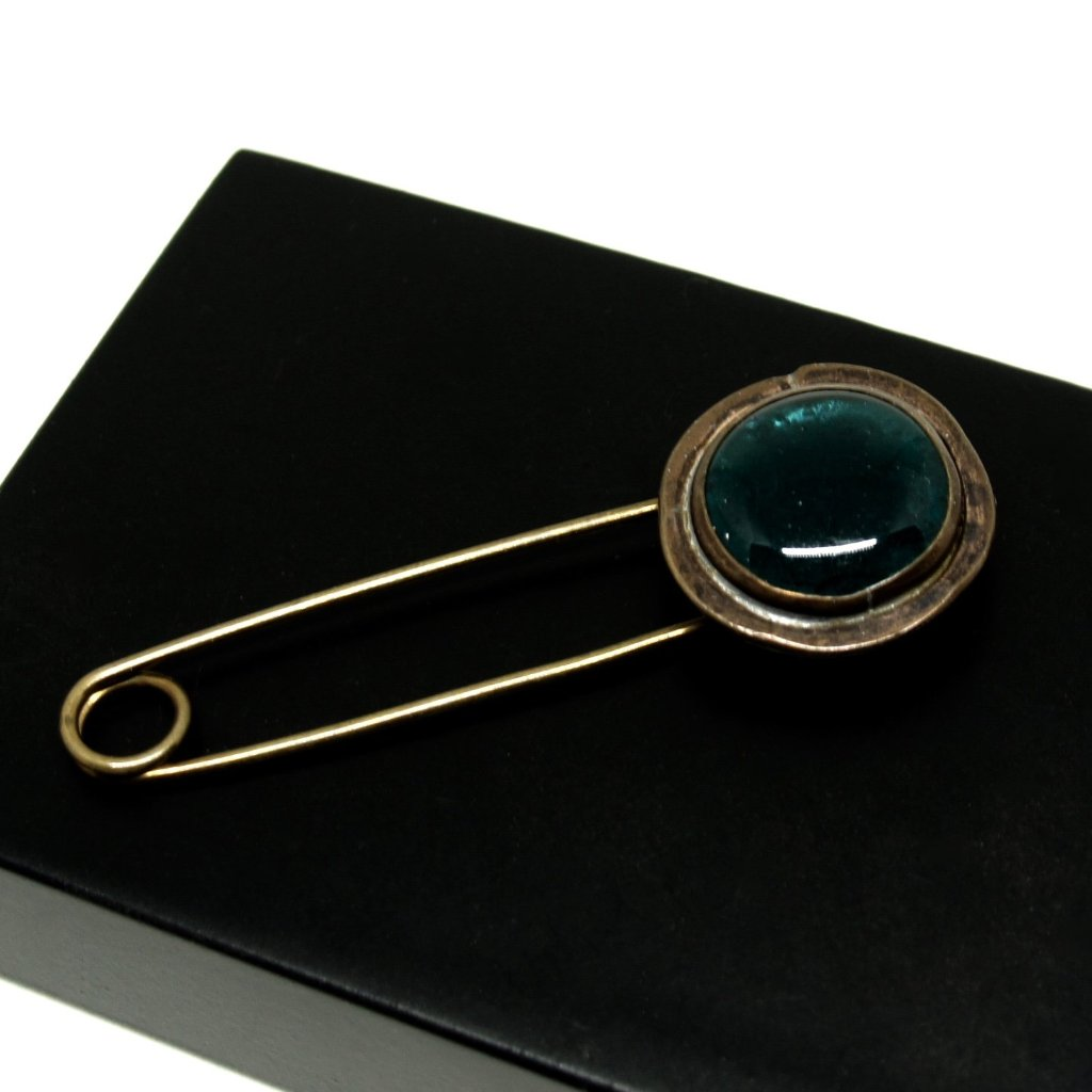 Rare Rafael Alfandary Brooch - Safety Pin - Teal Glass