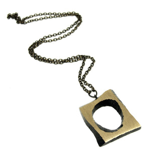 Karl Laine Geometric Necklace - Modernist Bronze- Original Box