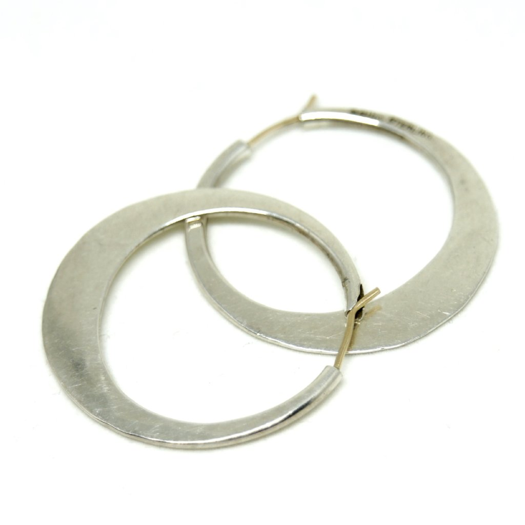 Ed Levin Hoop Earrings - Sterling Silver - American Modernist