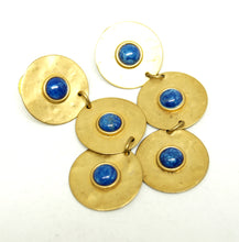 Load image into Gallery viewer, Martha Sturdy Long Earrings - Matte Gold - Blue Cabochons