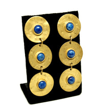 Martha Sturdy Long Earrings - Matte Gold - Blue Cabochons