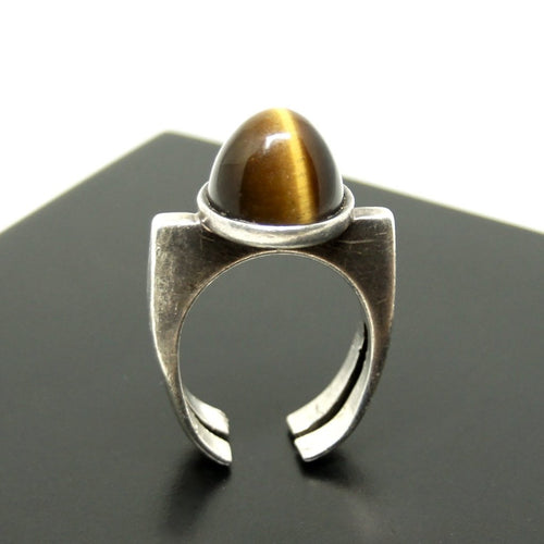 Franz Scheurle Tall Bullet Ring - Tigers Eye Stone