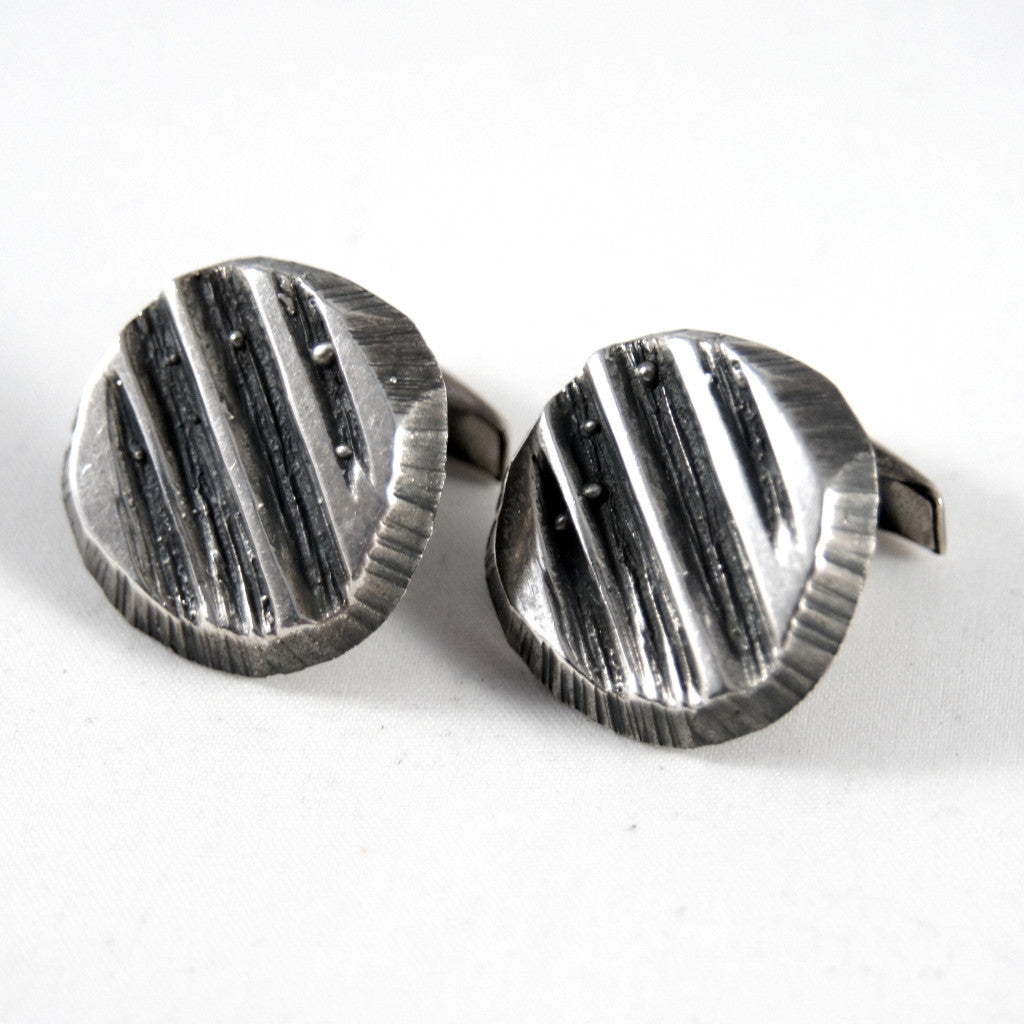 Rugged Sten & Laine Cufflinks - Sterling Silver - Brutalist