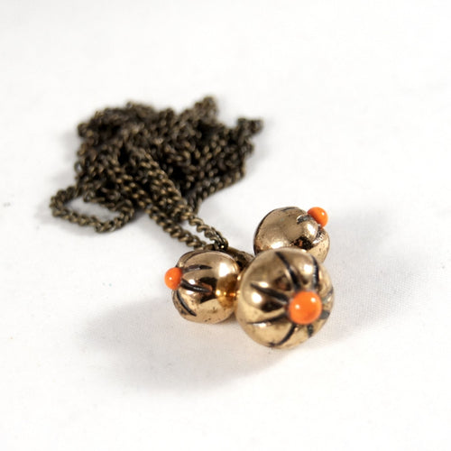 Jozsef Peri Kinetic Berry Necklace - Orange Enamel - Hungarian