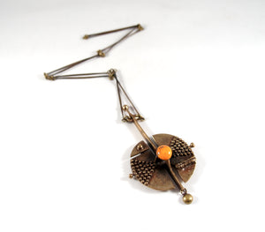 Large Jozsef Peri Satellite Necklace - Orange Enamel - Hungarian