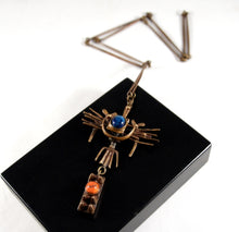 Load image into Gallery viewer, Kinetic Jozsef Peri  Necklace - Orange Blue Enamel - Hungarian